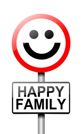 unit: Illustration depicting a sign with a happy family concept