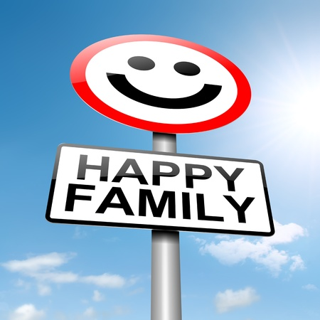 happy family concept: Illustration depicting a sign with a happy family concept