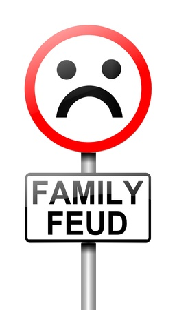 Illustration depicting a sign with a family feud concept  illustration