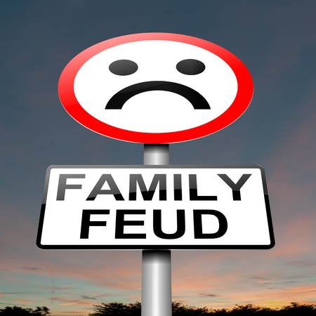 grand father: Illustration depicting a sign with a family feud concept