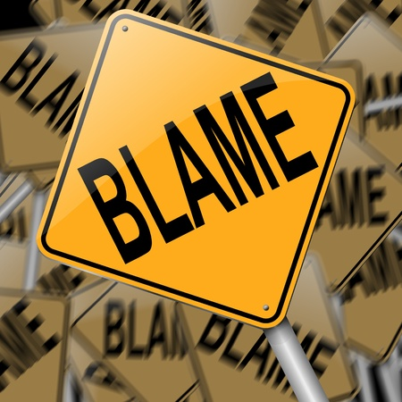 shame: Illustration depicting a sign with an blame concept.
