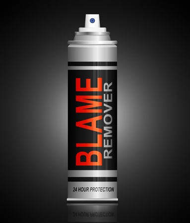 fault: Illustration depicting an aerosol can with a blame remover concept.