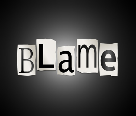 shame: Illustration depicting cutout printed letters arranged to form the word blame.
