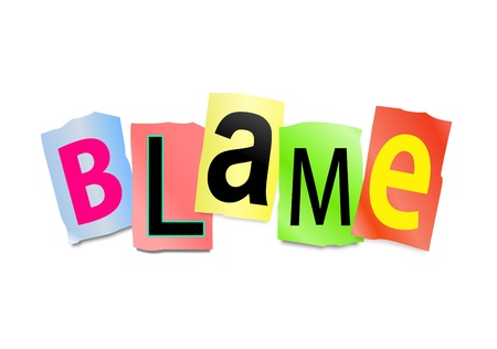 illustration illustration depicting cutout printed letters arranged to form the word blame