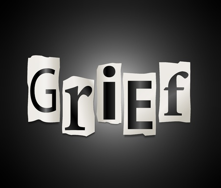 grief: Illustration depicting cutout printed letters arranged to form the word grief.