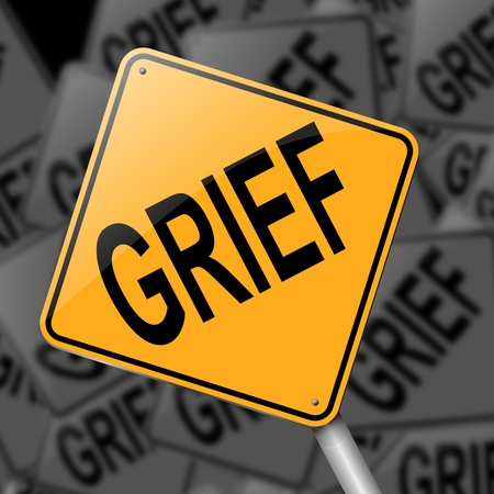 grieving: Illustration depicting a sign with a grief concept.