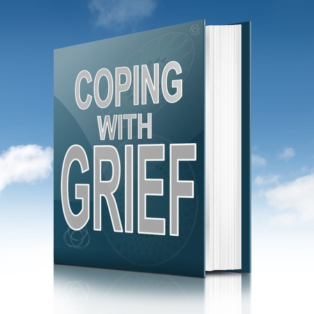 grieving: Illustration depicting a book with a grief concept title. Sky background.