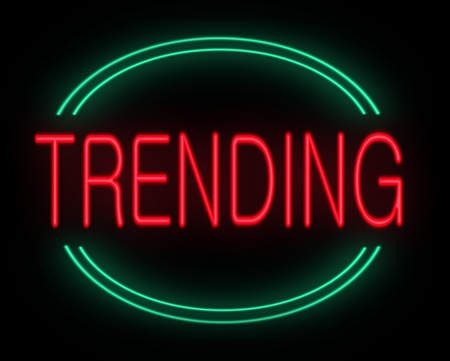 trending: Illustration depicting a neon sign with a trending concept. Stock Photo