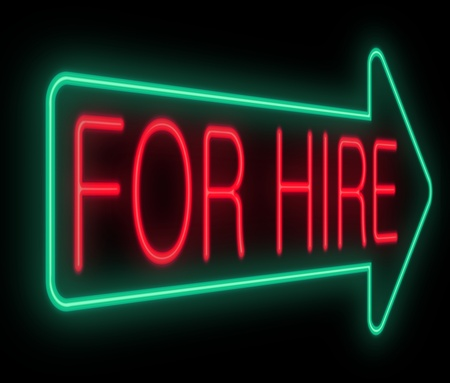 employing: Illustration depicting a neon sign with a for hire concept. Stock Photo