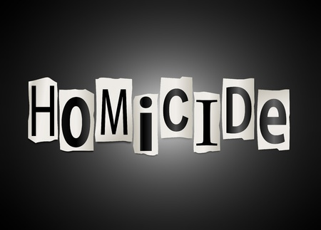 felony: Illustration depicting cutout printed letters arranged to form the word homicide. Stock Photo