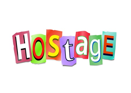 hostage: Illustration depicting cutout printed letters arranged to form the word hostage.