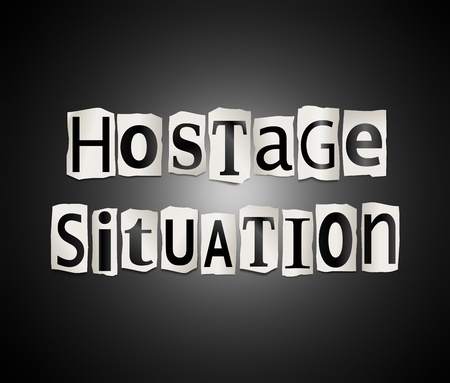 blackmail: Illustration depicting cutout printed letters arranged to form the word hostage.