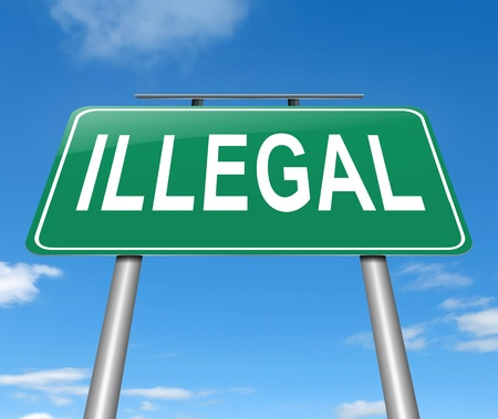 violate: Illustration depicting a sign with an illegal concept. Stock Photo