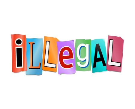 wrongful: Illustration depicting cutout printed letters arranged to form the word illegal. Stock Photo