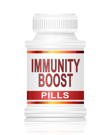 antibodies: Illustration depicting a medication container with an immunity boost concept. Stock Photo