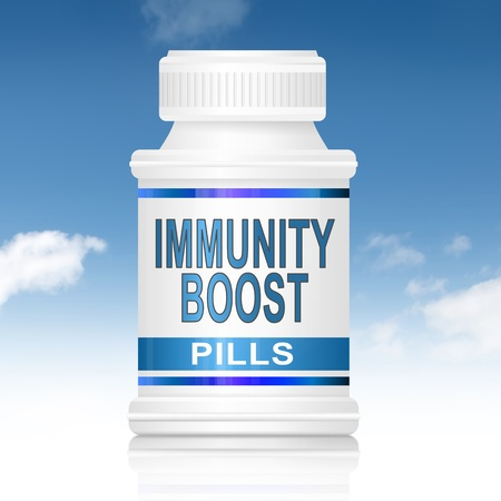 boost: Illustration depicting a medication container with an immunity boost concept. Stock Photo