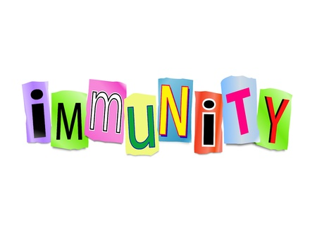 Illustration depicting cutout printed letters arranged to form the word immunity.