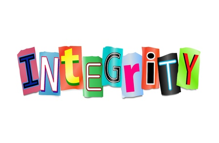 decency: Illustration depicting cutout printed letters arranged to form the word integrity.