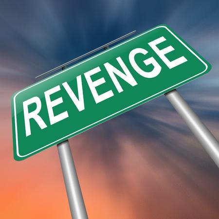 retribution: Illustration depicting a sign with a revenge concept.