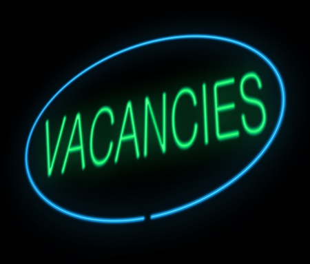 vacant: Illustration depicting a neon sign with a vacancies concept. Stock Photo