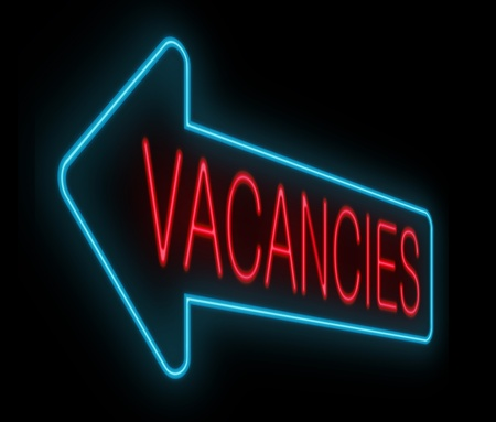 vacancies: Illustration depicting a neon sign with a vacancies concept. Stock Photo