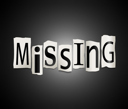 vanished: Illustration depicting cutout printed letters arranged to form the word missing.