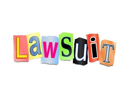 court proceedings: Illustration depicting cutout printed letters arranged to form the word lawsuit  Stock Photo