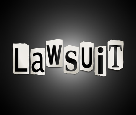 to sue: Illustration depicting cutout printed letters arranged to form the word lawsuit  Stock Photo