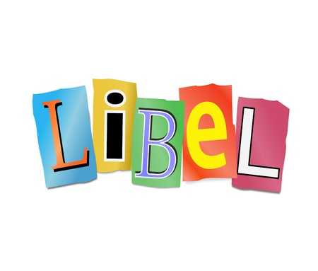Illustration depicting cutout printed letters arranged to form the word libel