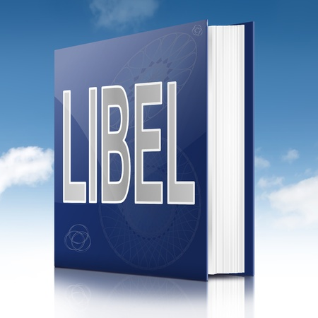 defamation: Illustration depicting a book with a libel concept title  Sky background