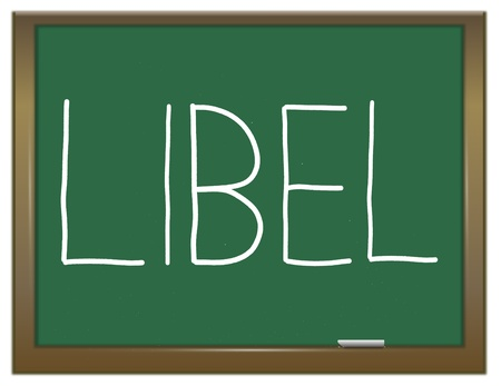 Illustration depicting a green chalkboard with a libel concept