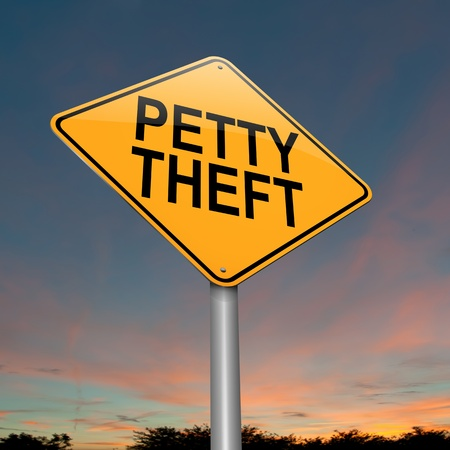 mugging: Illustration depicting a sign with a petty theft concept  Stock Photo