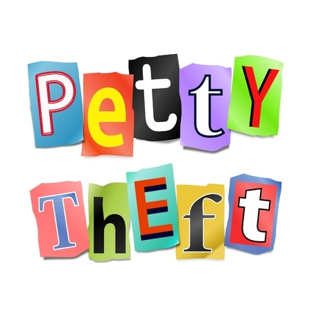 mugging: Illustration depicting cutout printed letters arranged to form the words petty theft