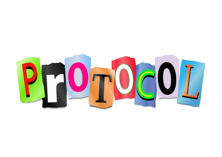 protocol: Illustration depicting cutout printed letters arranged to form the word protocol  Stock Photo