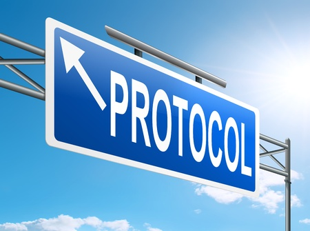 Ilustración que muestra un cartel con un concepto de protocolo
