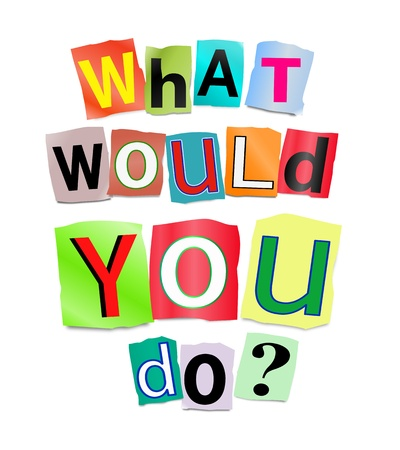 would: Illustrazione raffigurante lettere stampate ritaglio disposti a formare le parole, cosa vorresti fare Archivio Fotografico