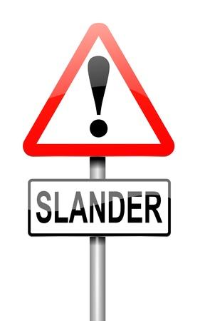 libel: Illustration depicting a sign with a slander concept