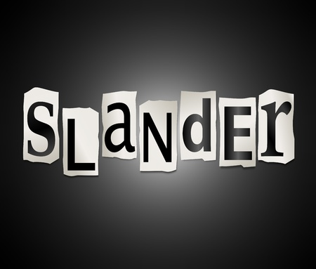Illustration depicting cutout printed letters arranged to form the word slander