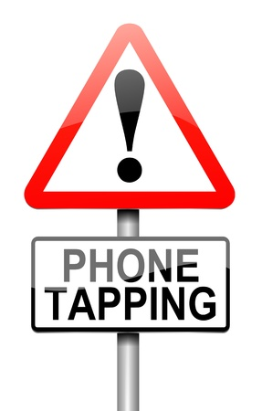snooping: Illustration depicting a sign with a phone tapping concept