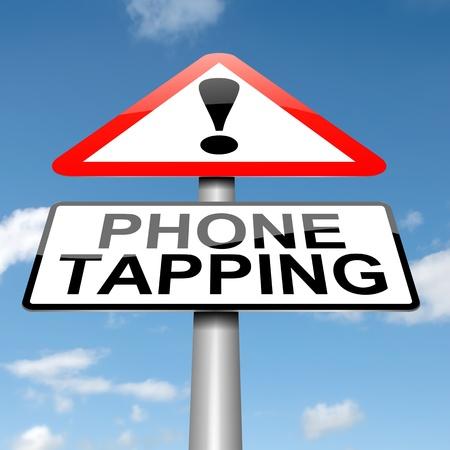 tapping: Illustrazione raffigurante un cartello con un concetto di intercettazioni telefono