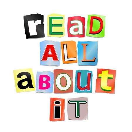 allen: Illustratie geeft uitsparing gedrukte letters ingericht om de woorden te vormen leest er alles over Stockfoto