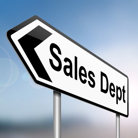 dept: Illustration depicting a sign with a sales dept concept. Stock Photo