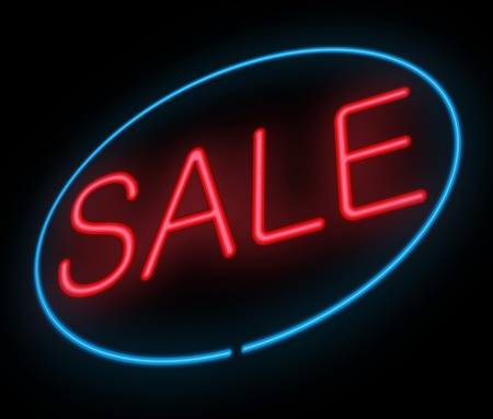 reduced value: Illustration depicting a neon sign with a sale concept.