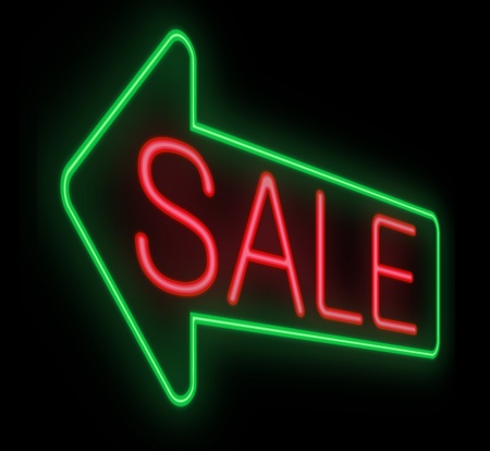 Illustration depicting a neon sign with a sale concept. illustration