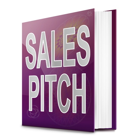 pitch: Illustration depicting a text book with a sales pitch concept title. White background.