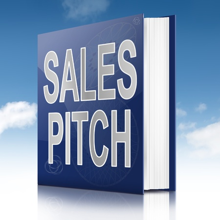 business pitch: Illustration depicting a book with a sales pitch concept title. Sky background.