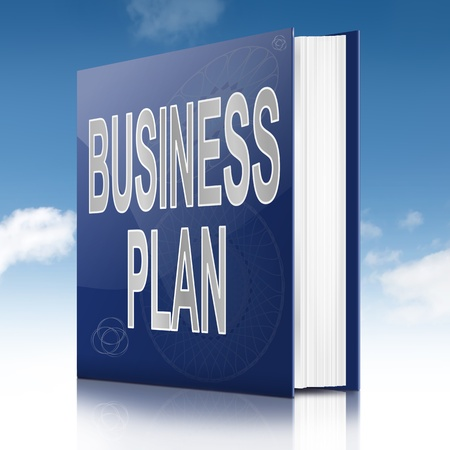 Illustration depicting a text book with a Business Plan concept title. Sky background. Stock Photo