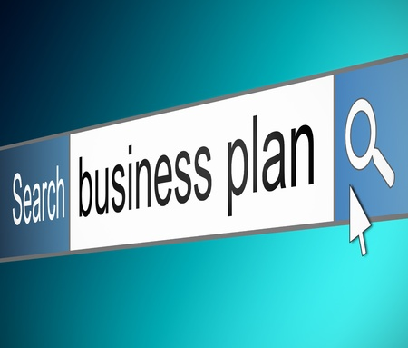 statement: Illustration depicting a screen shot of an internet search bar containing a business plan concept.  Stock Photo