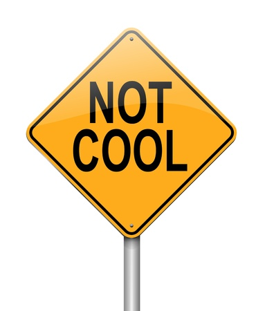 anti: Illustration depicting a sign with a not cool concept. Stock Photo