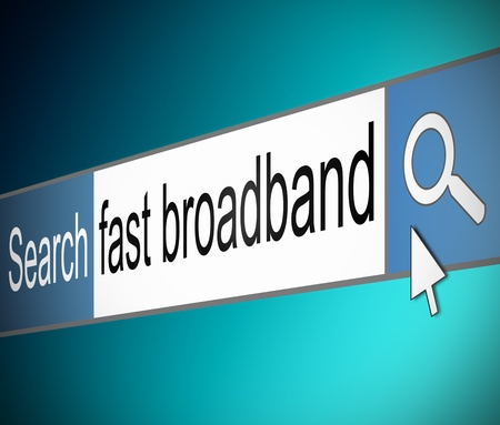broadband: Illustration depicting a screen shot of an internet search bar containing a broadband concept.